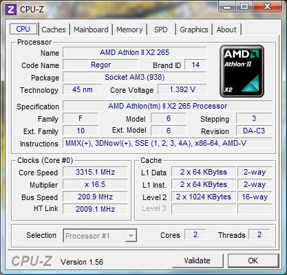 cpu-z AMD Athlon II X2 265