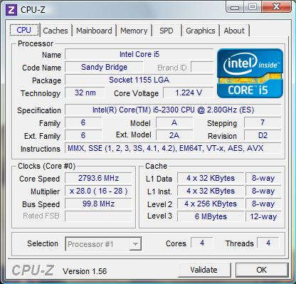 cpu-z Intel Core i5-2300