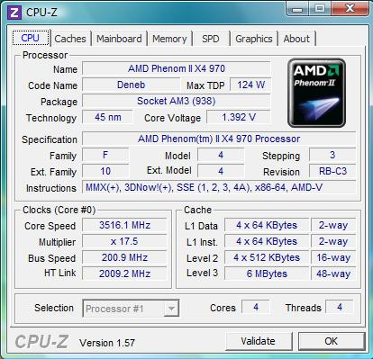 cpu-z AMD Phenom II X4 970 Black Edition