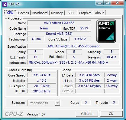 cpu-z AMD Athlon II X3 455