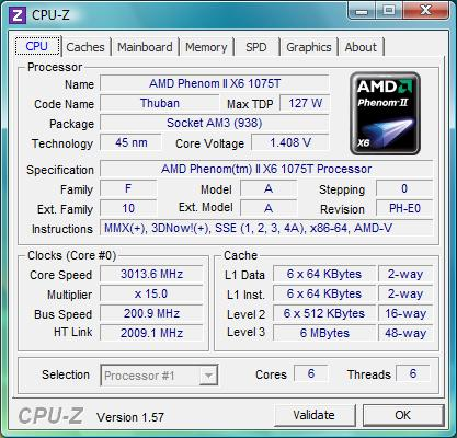 cpu-z AMD Phenom II X6 1075T