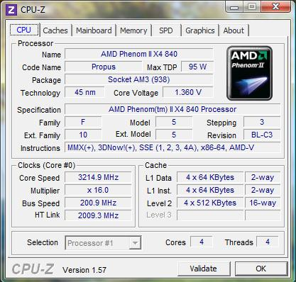 cpu-z AMD Phenom II X4 840