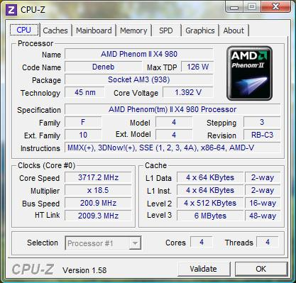 cpu-z AMD Phenom II X4 980 Black Edition