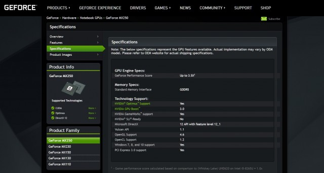 NVIDIA GeForce MX230 MX250