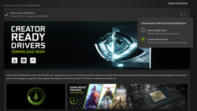 NVIDIA GeForce Creator Ready