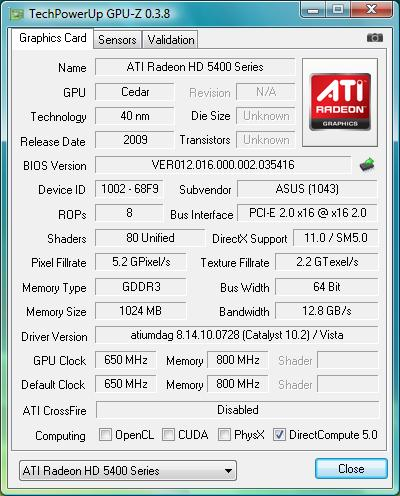 ASUS EAH5450/DI/1GD3(LP)