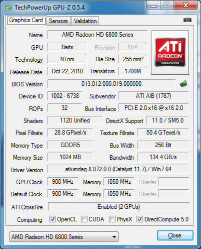 gpu-z PowerColor HD6870x2 2GB GDDR5 (AX6870X2 2GBD5-2DHG)